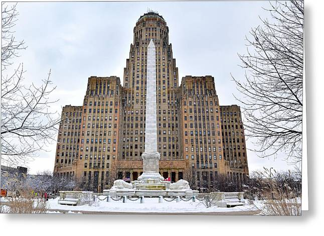 Iconic Buffalo City Hall In Winter Greeting Card