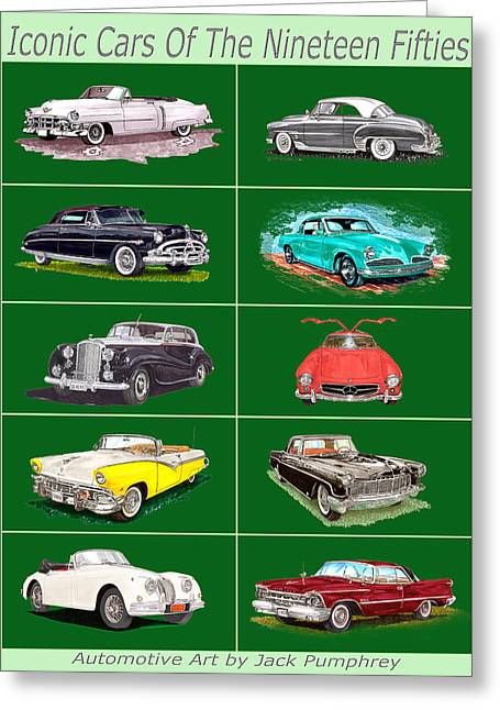 Iconic Cars Of The 1950s Greeting Card by Jack Pumphrey