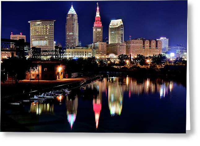 Iconic Night View Of Cleveland Greeting Card by Frozen in Time Fine Art Photography