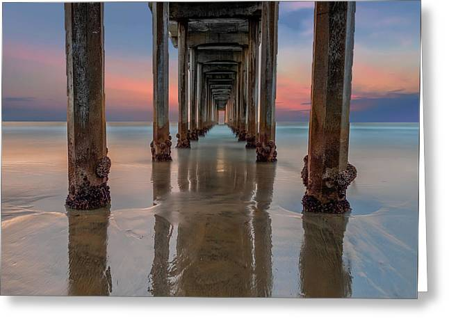Iconic Scripps Pier Greeting Card by Larry Marshall