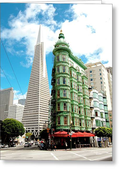 Icons Of San Fran Greeting Card by Greg Fortier