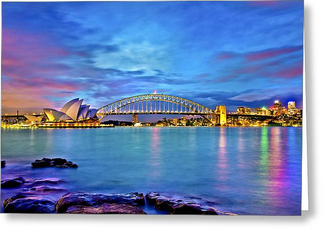 Icons Of Sydney Harbour Greeting Card by Az Jackson