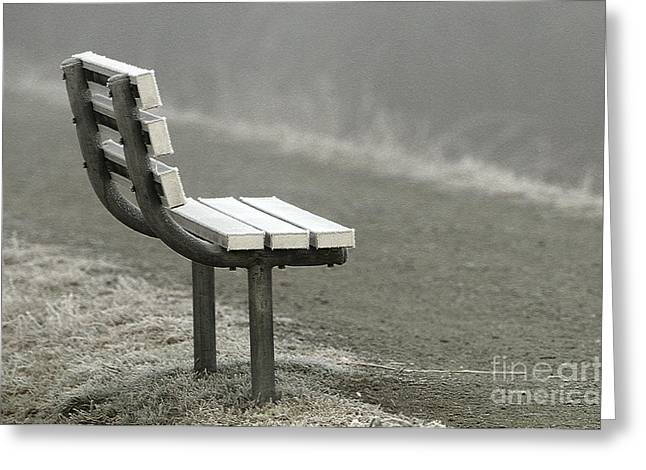 Icy Bench In The Fog Greeting Card