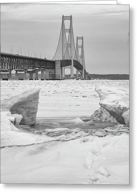 Greeting Card featuring the photograph Icy Black And White Mackinac Bridge  by John McGraw