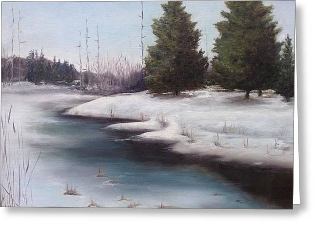 Greeting Card featuring the painting Icy Blue by Diane Daigle