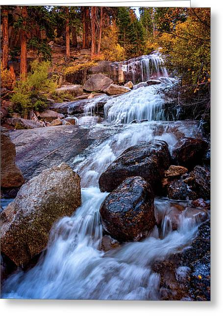 Greeting Card featuring the photograph Icy Cascade Waterfalls by John Hight