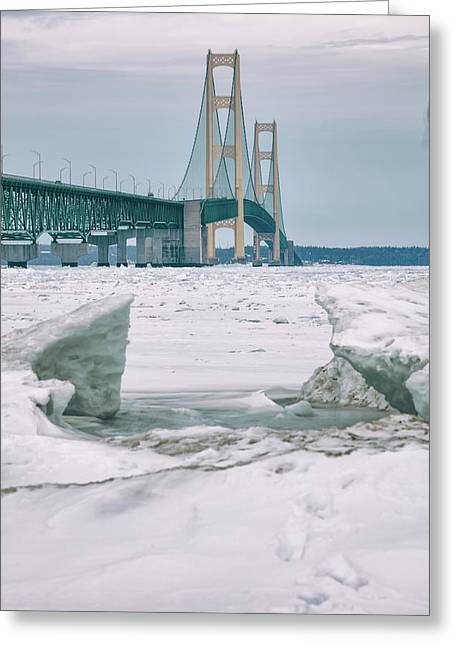 Greeting Card featuring the photograph Icy Day Mackinac Bridge  by John McGraw