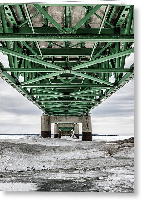 Greeting Card featuring the photograph Icy Mackinac Bridge In Winter by John McGraw