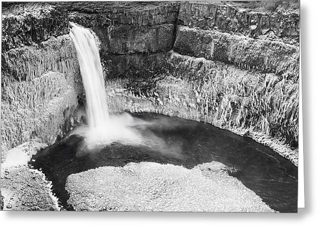 Icy Palouse Falls Panorama - Black And White Greeting Card by Mark Kiver