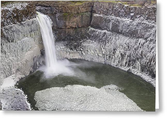 Icy Palouse Falls Panorama Greeting Card by Mark Kiver