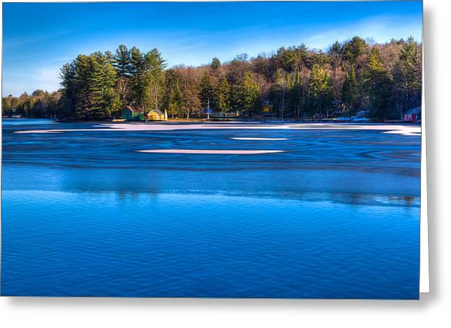 Icy Patterns On The Pond Greeting Card by David Patterson