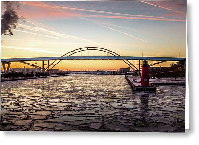 Greeting Card featuring the photograph Icy River Sunset by Randy Scherkenbach