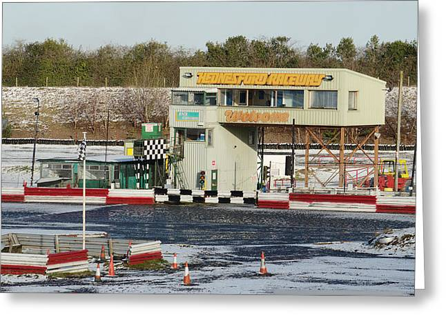 Icy Stock Car Track Greeting Card by Adrian Wale
