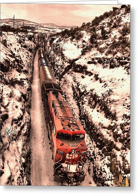 Icy Train In The Palouse Greeting Card by Jeff Swan