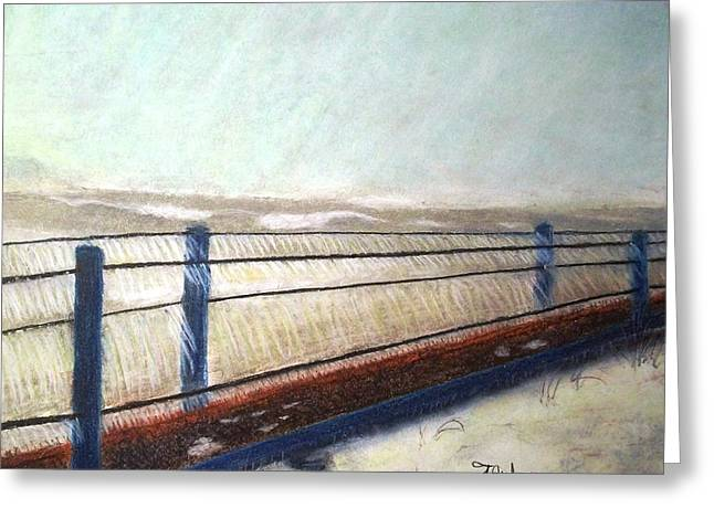 Chicago Pastels Greeting Cards - Icy Walkway Greeting Card by Terry Jenkins