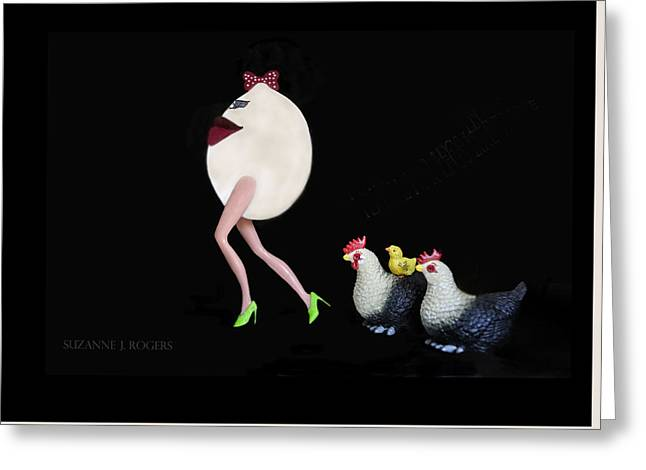 The Egg And The Chickens Greeting Card by Suzanne Rogers