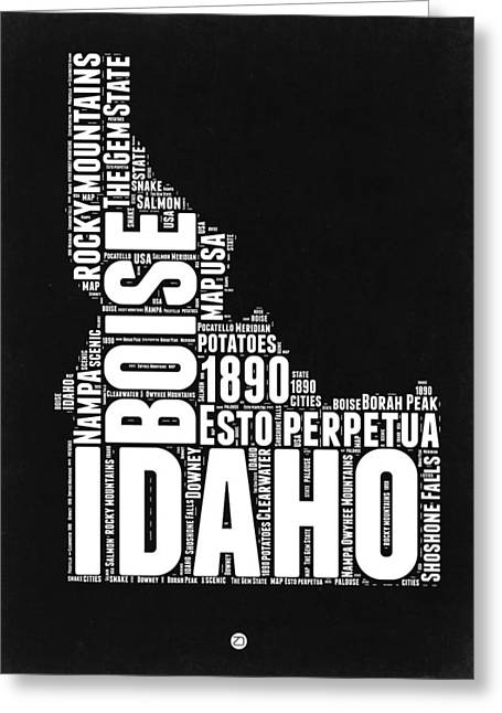 Idaho Black And White Map Greeting Card by Naxart Studio