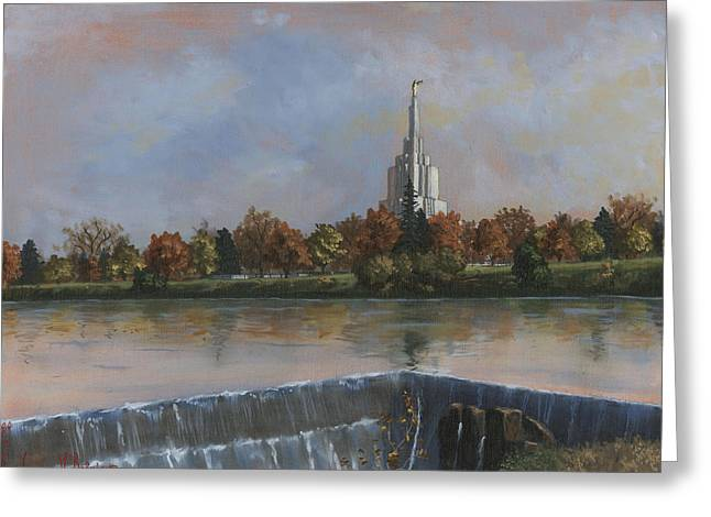 Idaho Falls Temple Greeting Card by Jeff Brimley
