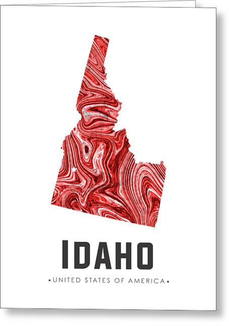 Idaho Map Art Abstract In Red Greeting Card