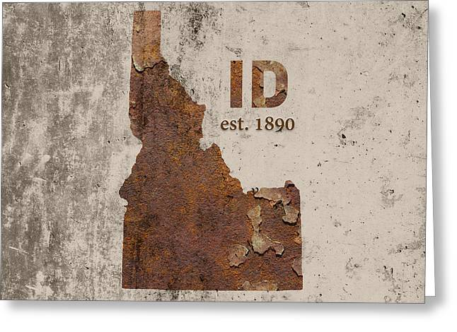 Idaho State Map Industrial Rusted Metal On Cement Wall With Founding Date Series 045 Greeting Card by Design Turnpike
