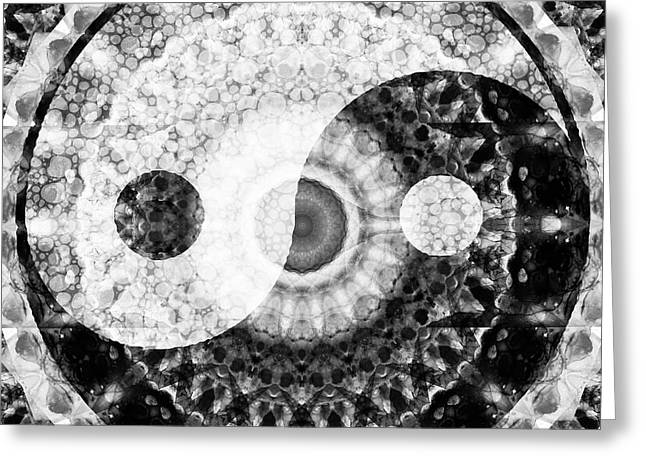 Ideal Balance Black And White Yin And Yang By Sharon Cummings Greeting Card