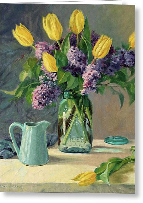 Ideal - Yellow Tulips And Lilacs In A Blue Mason Jar Greeting Card