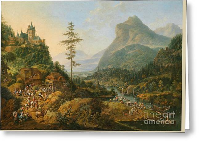 Idealized River Landscape With A Hunting Party Greeting Card by MotionAge Designs