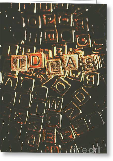 Ideas Letterpress Typography Greeting Card by Jorgo Photography - Wall Art Gallery