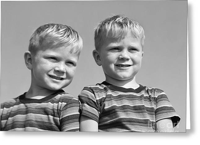 Identical Twin Boys, C.1950s Greeting Card