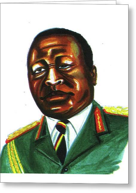Idi Amin Dada Greeting Card by Emmanuel Baliyanga