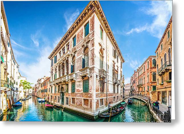 Idyllic Canal In Venice Greeting Card by JR Photography