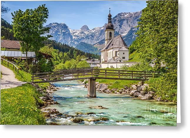 Idyllic Church In The Alps Greeting Card