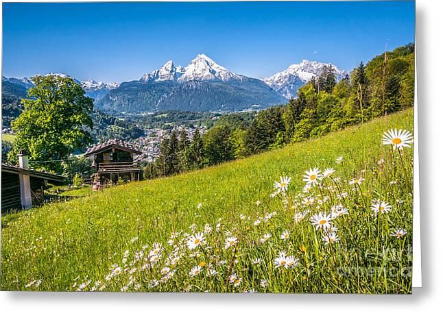 Idyllic Mountain Panorama Greeting Card
