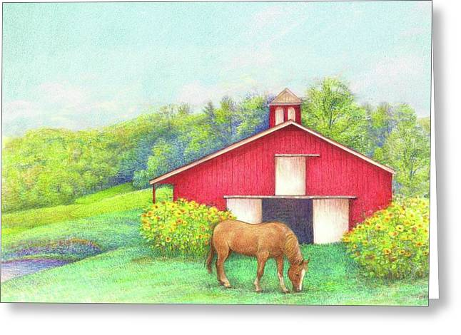 Idyllic Summer Landscape Barn With Horse Greeting Card