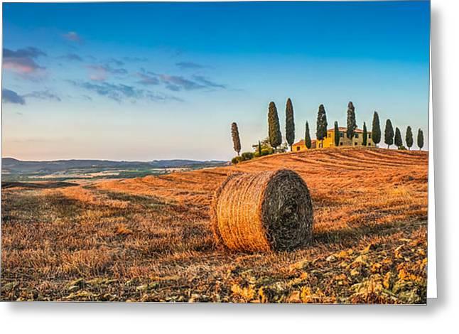 Idyllic Tuscany Landscape At Sunset Greeting Card