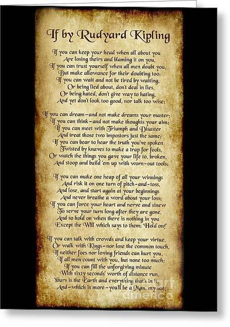 If By Rudyard Kipling - Long Parchment Style  Greeting Card by Ginny Gaura