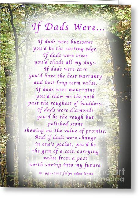 If Dads Were Greeting Card And Poster Greeting Card by Felipe Adan Lerma