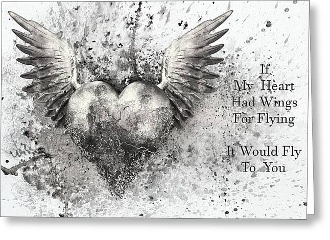 If My Heart Had Wings For Flying Black White Silver Greeting Card by Georgiana Romanovna