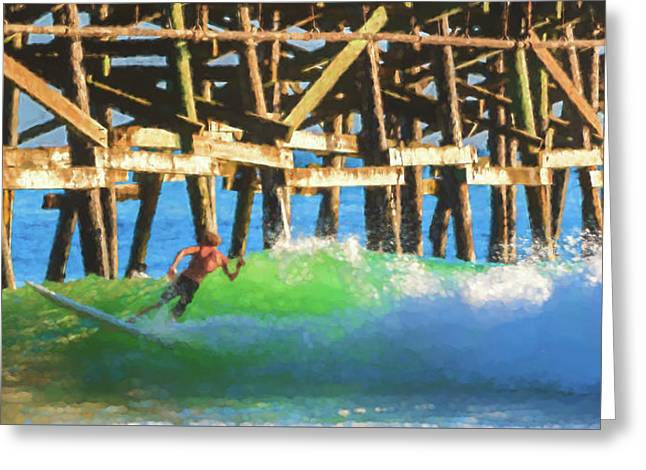 If The Dude Surfed 2 Surfing Watercolor Greeting Card