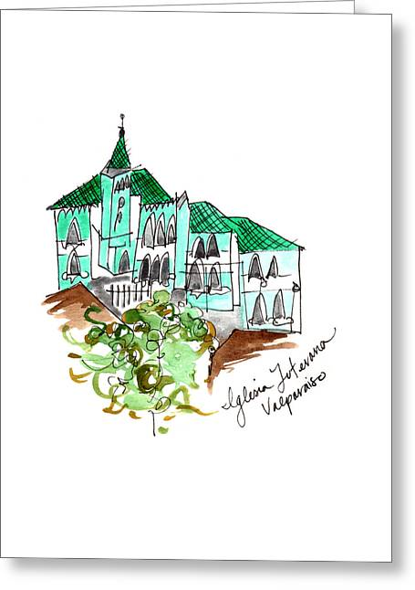 Iglesia Luterana Valparaiso Greeting Card by Anna Elkins