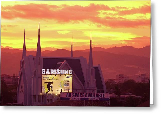 Sunset Prints Greeting Cards - Iglesia ni Cristo Sunset Cebu City Philippines Greeting Card by James BO  Insogna