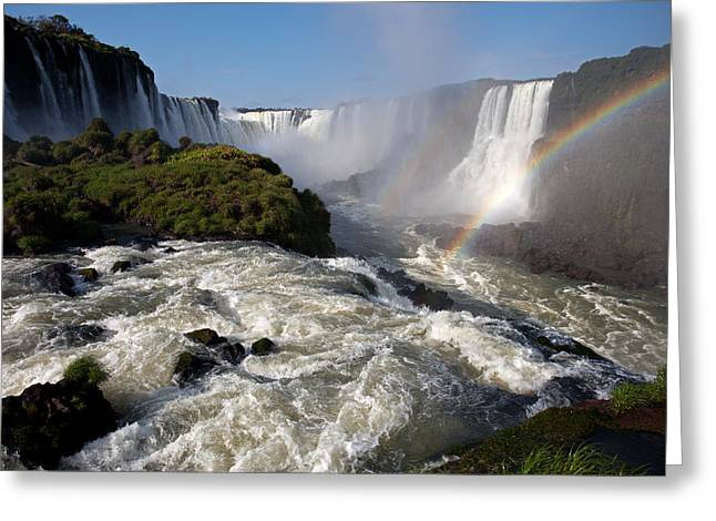 Iguassu Falls With Rainbow Greeting Card