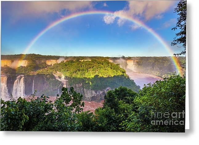 Iguazu Rainbow Greeting Card by Inge Johnsson