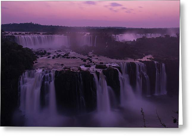 Iguazu Sunset In Violet Greeting Card