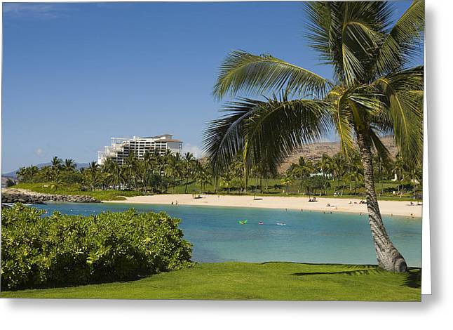 Ko Olina Lagoon Greeting Cards - Ihilani Hotel tropical lagoon Greeting Card by Dana Edmunds - Printscapes