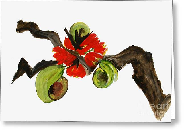Ikebana - Red N Green Greeting Card