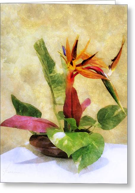 Ikebana Bird Of Paradise Greeting Card