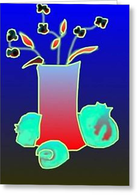 Greeting Card featuring the digital art Ikibana On Blue by Rae Chichilnitsky