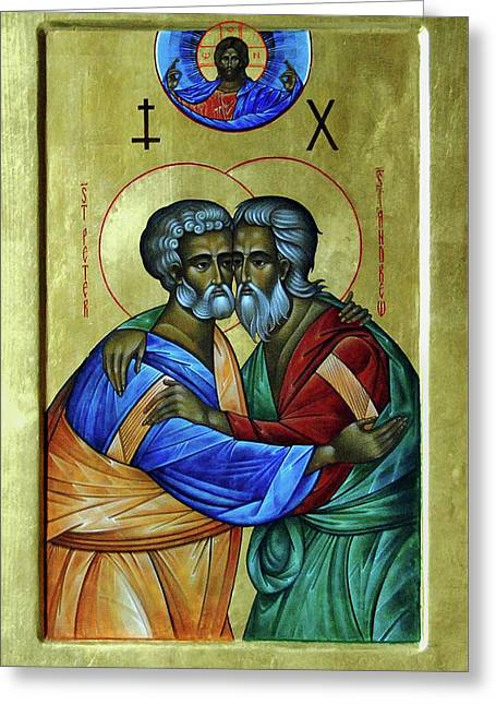 Greeting Card featuring the photograph Ikon Sts. Peter And Andrew by John Schneider