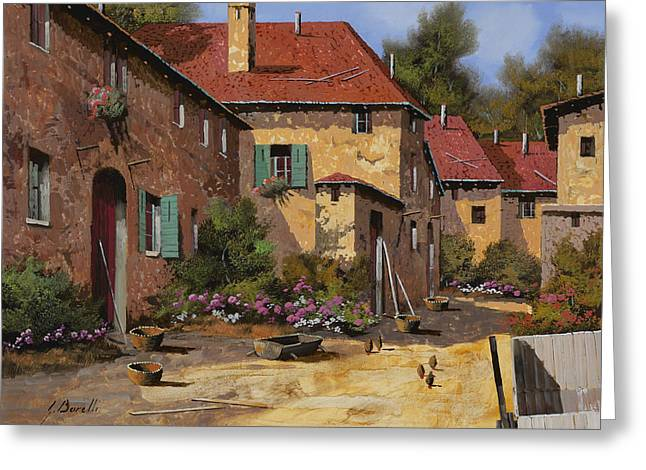 Farm Landscape Greeting Cards - Il Carretto Greeting Card by Guido Borelli